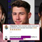 Miley Cyrus posted a DM from Priyanka Chopra's husband Nick Jonas, Priyanka reacts