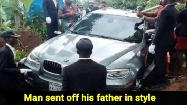 Son buries his dad in Brand new BMW rather than a coffin