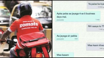 Funny convo between Customer & Zomato leaves the internet in stitches