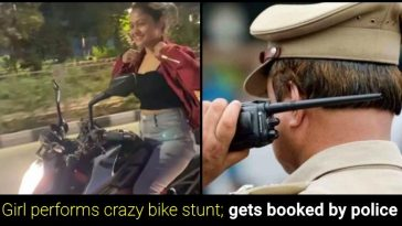 "Watch: Surat girl performs ""Bike stunts"" without helmet, booked by police"