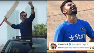 Virat Kohli couldn't resist himself from reacting to Rahul Dravid's new Ad, here's Kohli's tweet