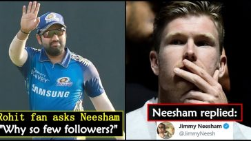 Jimmy Neesham gives an epic reply to Rohit Sharma's fan on social media