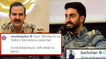 Mumbai Police posted Abhishek Bachchan's pic with a funny caption; he gave a hilarious reply