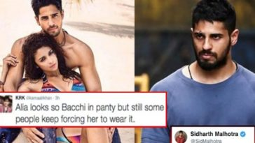 Sidharth Malhotra shuts KRK's mouth who made Ugly comment on Alia Bhatt