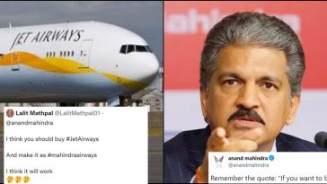 Fan wants Anand Mahindra to buy 'Jet Airways' and this was his witty reply!